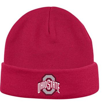 Ohio State Buckeyes Ribbed Cuff Pom Knit Hat