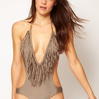 River Island Tassle Front Low Cut Swimsuit at asos.com