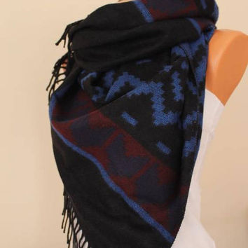 Aztec -Blanket Scarf Tribal Scarf Shawl  Oversize Scarf Fall Winter Fashion Christmas Gift For Her Women Fashion Accessories Warm Scarf