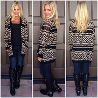 By The Dunes Knit Cardigan - BLACK & CREAM