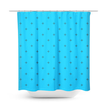 Swiss Cross Deep Sky Blue Shower Curtain