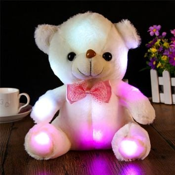 Large LED Colorful Glowing Teddy Bear Panda Stuffed Toy Cute Cartoon Animal Doll Toys Gifts for Birthday High Quality