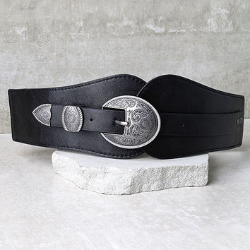 Hoot and Holler Black and Antiqued Silver Belt