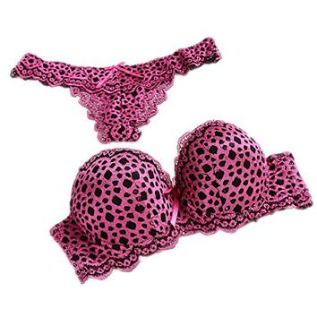 Leopard Temptation Lace Thongs Women Intimate Plus Size Push Up Bra Brief Sets