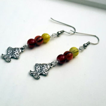 Koi fish charm earrings with red, yellow, and orange beads/ Tropical fish drop earrings/ Red, orange, and yellow beaded earrings/ Fish