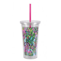 Lilly Pulitzer Acrylic Tumbler with Straw - Hot Spot