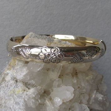 Vintage Deeply Etched Flower & Leaf Gold Filled Sterling Silver Hinged Bangle Bracelet