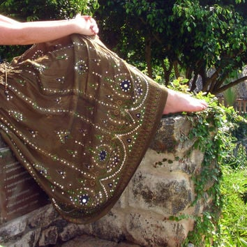 Khaki Maxi Skirt: Gypsy Skirt, Long Flowy Indian Boho Bohemian Skirt Crinkle Sequin Cover Up Olive Army Green