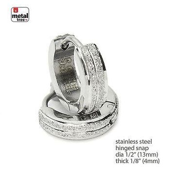 Jewelry Kay style Men's Hip Hop Punk Stainless Steel Huggie Hoop Hinged Snap Earrings SSHE 025 S