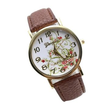 Relojes Mujer 2017 Vintage Flowers Stripes Dots Watch Women PU Leather wristwatch casual dress watch Ladies Watch Dropship