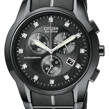 Citizen AT2055-52G Men's Eco Drive Black Ion Plated Diamond Watch