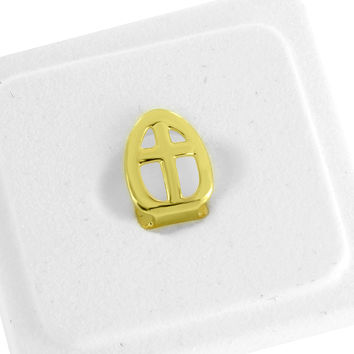 Single Tooth Cap Grillz Cross Design 14K Yellow Gold Finish