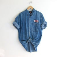 vintage denim jean shirt. button down Wrangler work shirt. men's size L
