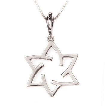 Star Of David Spiral Necklace in White Gold From Israel Religious Jewelry From Israel Hand made Sterling Silver Spiral Star Of David Chain
