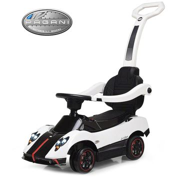 Pagani Zonda Cinque Kids Convertible Ride On Push and Foot to Floor Car | White