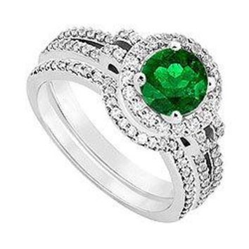 14K White Gold Emerald & Diamond Engagement Ring with Wedding Band Sets 1.15 CT TGW