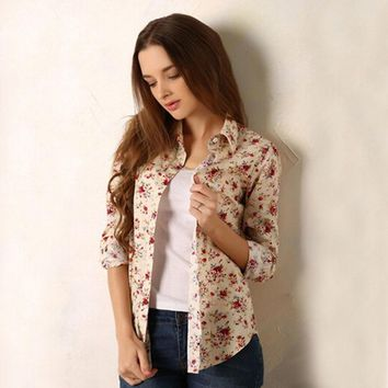 new Fashion women vintage floral printed flower cotton blouse long sleeve elegant Shirts casual slim S-XL sping