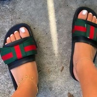 GUCCI 2018 trendy men and women fashion high quality bow slippers sandals F