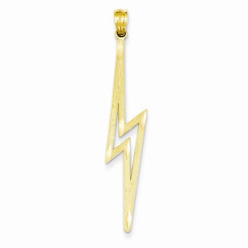 14k Yellow Gold Lightning Bolt Charm Pendant