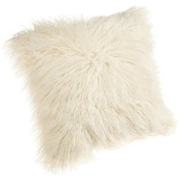 Brentwood Mongolian Faux Fur Pillow, White, 18