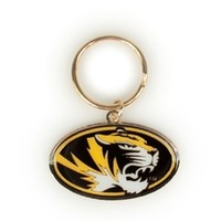 Mizzou Oval Tiger Head Black & Gold Keychain