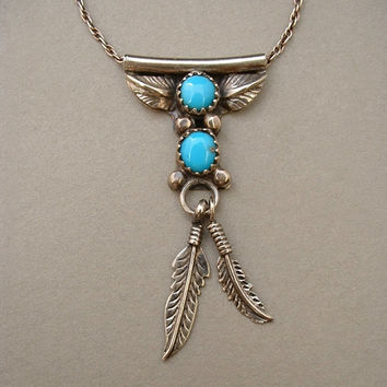 KAY YAZZIE Vintage Native American Navajo Necklace TURQUOISE Sterling Silver Feather Leaf Motif Hallmarked c.1970s