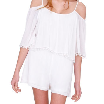 Madrid Off-Shoulder Romper - White