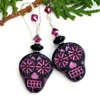 Black and Pink Sugar Skull Earrings, Day of the Dead Halloween Handmade Dangle Jewelry