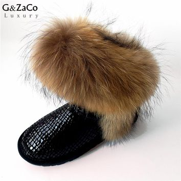 G&Zaco Luxury Snow Boots Natural Fox Fur Cow Boots Waterproof Mid Calf Genuine Leather Winter Cotton Real Fur Boots Women Shoes