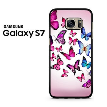 Butterfly Drawing Flying Colorful Pink Samsung Galaxy S7 Case