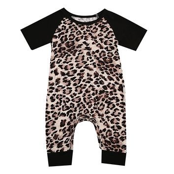 Newborn Baby Boys Girls Casual Clothes Infant Leopard splicing Romper Jumpsuit Outfits