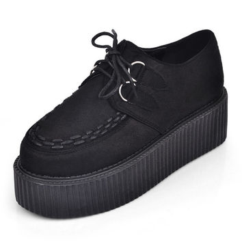 Sexy Black Handmade Leather Ladies Lace UP Flat Double PlatForm Women's Goth Creepers Punk Wedge Casual Creepers Shoes Black