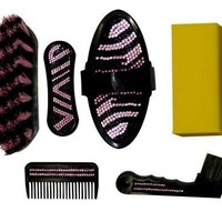 PINK BLING ZEBRA SHOWMAN 7 Pc HORSE Mini Pony Kid GROOMING KIT Holiday Gift Idea