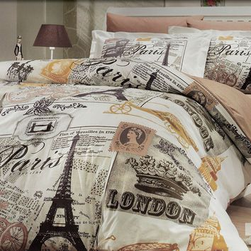 Paris Home 100% Cotton Single Twin Size Eiffel Tower Vintage Brown Bedding Set Quilt Doona Cover Sheets