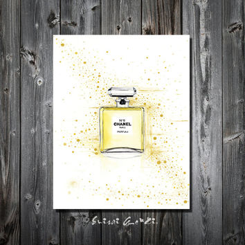 Chanel No5, Chanel, 24x36'', canvas Print, Watercolor Painting, Gold, Yellow, Parfum, Fashion Art, Fashion, Gold Wall Decor, by Suisai Genki
