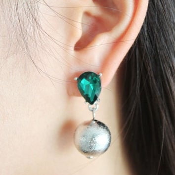Emerald effect metallic tone drop ball stud earrings - mystique green crystal drop earrings