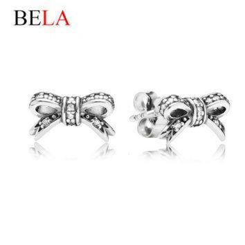 DCK7YE Brand Delicate 925 Silver Plated Sparkling Bow Stud Earrings Fit Pandora Jewelry With