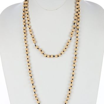 Beige Wooden Bead Extra Long Wraparound Necklace