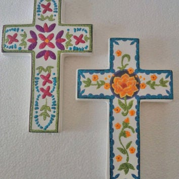 Ceramic Cross, Holly Wall Cross, Religious Art Flower Cross, Mexican Cross HandPainted Glittler, Hanging and folk decor