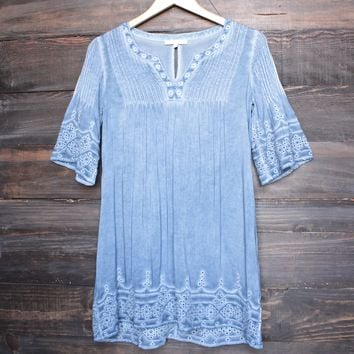 denim blue wash boho dress