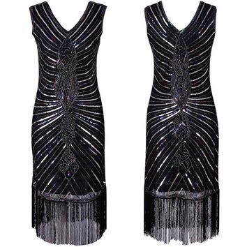 SexeMara New V Neck High Class Glitter New Year Christmas Party Vintage Gatsby Flapper Dress Dance Costume Vestidos Best Quality