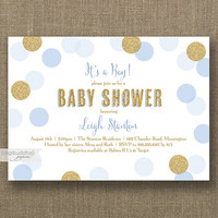 Baby Blue & Gold Baby Shower Invitation Boy Gold Glitter Blue Polka Dots Modern Baby Sprinkle Invite Printable or Printed- Leigh