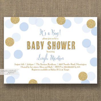 baby boy sprinkle shower invitation blue gold – frenchkitten, Baby shower invitations