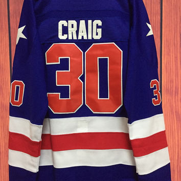 Ice Hockey 1980 Miracle On Ice Team USA Jim Craig 30 Hockey Jersey