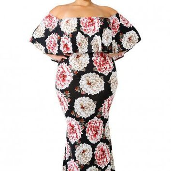 Chic Sky Bloom Off Shoulder Plus Size Maxi Dress