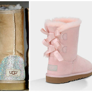 Light Baby Pink Ugg Bailey Bow Boots with Swarovski Crystal Embellishment - Bling Baby Pink Bailey Bow Uggs