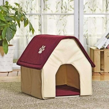 HOT!! Dog Bed Cama Para Cachorro Soft Dog House Daily Products For Pets Cats Dogs Home Shape 2 Colors Red/Green Puppy Kennel
