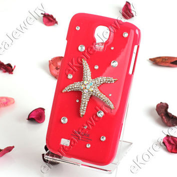 Bling Crystal Starfish Cell Phone Case Cover for Samsung Galaxy S4 SIV