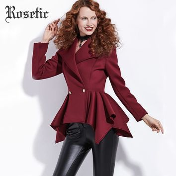 Gothic Short Empire Slim Chic Dark Red Preppy Office Sexy Romantic Coat