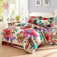 European style luxury floral print duvet cover set comforter cover set 100%Cotton blushed bedding sets SP2668